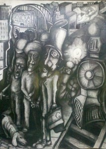 The General's Arrival. Charcoal